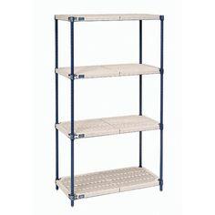 "Nexel Nexelite Plastic Mat 4 Shelf Shelving Unit Starter Size: 86"" H x 54"" W x 18"" D"