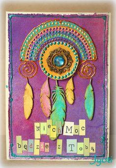 beautiful piece by Jyoti using Eye Eye Products, 3rd Eye, Chipboard, Feathers, Mandala, Canvas Art, Arts And Crafts, Beautiful, Color