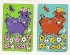 Kylie's Swap Cards | retro cows swap/playing cards