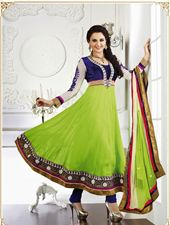 Monica Bedi Designer Anarkali Dress Material - This season & your look gets better definition with just a little attention to detail. Get the simplicity & grace with this aloe vera green chiffon & faux georgette salwar kameez. This ravishing attire is amazingly embroidered with lace & resham work.