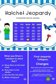 "Powerpoint Jeopardy game to play with students in grades 4-6. Based on Gary Paulsen's book, ""Hatchet."" This is a great way to end a novel study or review key concepts from the book. For similar jeopardy games go to https://www.teacherspayteachers.com/Store/Reading-Under-The-Hula-Moon"