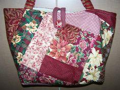 Christmas Burgundy Poinsettias Patchwork Strips Quilted Handbag Tote Bag | eBay