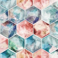 A simple, watercolor hexagon pattern in soft colors reminiscent of a pale stormy winter sky over farmland, or beside the ocean.