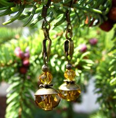 Amber Color Beads Earrings by WistfulWhimsyDesigns on Etsy, $5.00