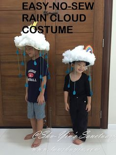 Rain Cloud Costumes with Rainbow & Lightning Now that Shern is 7 and Khye is 4 both of them are big enough to know that Halloween is. Rain Cloud Costume, Rain Costume, Crazy Hat Day, Crazy Hats, Costumes For Teens, Diy Costumes, Halloween Kostüm, Halloween Costumes For Kids, Diy For Kids