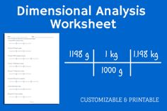 Dimensional Analysis Worksheet preview