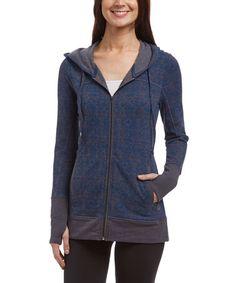Look what I found on #zulily! Ink Blue Geometric Fleece Zip-Up Emma Jacket #zulilyfinds