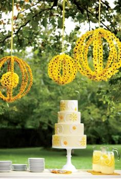 Yellow flowers glued onto wire spheres