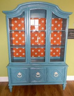 Chrissie's Collections: Retro Chic China Cabinet TRANSFORMATION - tutorial on how to add fabric to the back of furniture with spray adhesive. Furniture Projects, Furniture Making, Furniture Makeover, Cool Furniture, Painted Furniture, Orange Furniture, Restoring Furniture, Reclaimed Furniture, Refinished Furniture