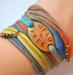 WILD and FREE... Boho Silk Wrap Bracelet- Silk Ribbon Bracelet- Graduation gift- Yoga wrap- Indie- Hippie
