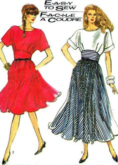 1980s Dress Pattern Simplicity 8487 Flared Skirt by paneenjerez, $10.00
