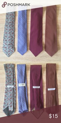 4 Vintage Giorgio Armani Tie Lot of 4 vintage silk Giorgio Armani ties. Excellent vintage condition. No flaws. Only damage is label stitching has come loose on burgundy  stripe tie (far right tie) Giorgio Armani Accessories Ties