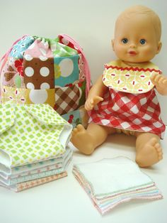 Bee In My Bonnet: A Cute Little Patchwork Bag, Doll Dress and Bib, Diapers and Wipes ~ free patterns and tutorials