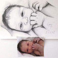 I love drawing newborn babies ✨ head to www. Drawings Of Friends, Love Drawings, Pencil Drawings, Art Drawings, Baby Painting, Painting For Kids, Painting People, Drawing People, Baby Illustration