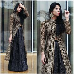 This Lengha Set adds elegance to my wedding look this season! Also, don't forget to check out the section… Indian Designer Outfits, Designer Dresses, Long Kurti With Skirt, Indian Dresses, Indian Outfits, Kurta Skirt, Indian Attire, Indian Wear, Photo Instagram