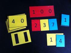 getalkaartjes, waarbij je het tientallig stelsel (HTE) inzichtelijk maakt. Bijv. 14 is eigenlijk 10 en 4. handig bij splitsen. Met magnetisch plakband op de achterzijde goed op het whiteboard te gebruiken.