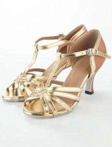 Gold Peep Toe Latin Dance Sandals Silk And Satin Ballroom Shoes