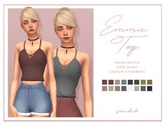 "smubuh:  "" ♡Emmie Top♡  So I finally messed around with mesh editing and came up with this simple tank top! The crossed straps will sometimes look weird with large chests unfortunately. This comes in the breakfast palette and it looks nice with high..."