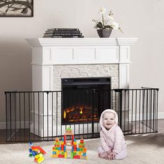 Goujxcy Metal Baby Gate With Walkthrough Door Inch Wide Fireplace Safety Fence Wood Stove Fence Christmas Tree Fence Adddecrease Panels Directly Wallmount Metal Gate For Toddler Panel - Pro Dog Supplies Fireplace Gate, Metal Fireplace, Baby Safety, Child Safety, Christmas Tree Fence, Metal Baby Gate, Kids Gate, Pet Gate, Steel Fence