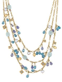 18K yellow gold David Yurman multi-strand necklace with faceted blue topaz and iolite, chalcedony cabochon beads, freshwater pearl dangles and adjustable toggle closure.
