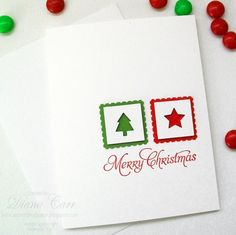 Handmade Christmas Card - Hand Stamped Merry Christmas in Red, White and Green
