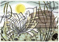 'Harris' linocut by Angie Lewin