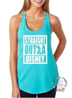 "Thank you for stopping by my shop! I am excited to have you here! Disney Addicts this top is for you!! My ""Straight Outta Disney"" is perfect for your Disney vacation! ***This listing is for the tank t"