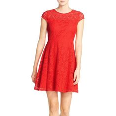 Petite Eliza J Crochet Lace Fit & Flare Dress ($98) ❤ liked on Polyvore featuring dresses, petite, red, red fit and flare dress, mini dress, eliza j dresses, red mini dress and short sleeve dress