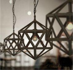 Antique Steel Polyhedron Chandelier
