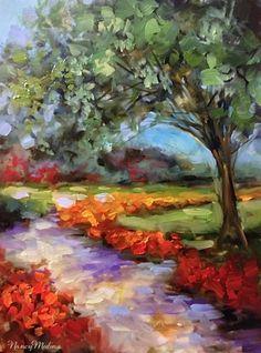 Hearts Path Orange Tulips by Nancy Medina