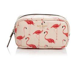 kate spade new york Cosmetic Case - Cedar Street Flamingos Ezra (£39) ❤ liked on Polyvore
