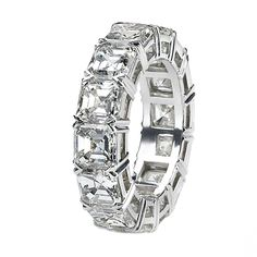 Asscher Cut Diamond Eternity Band | From a unique collection of vintage engagement rings at http://www.1stdibs.com/jewelry/rings/engagement-rings/