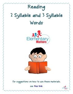 Weekly Freebie: FREE Reading Resource Free from Elementary Matters on TpT Reading Two and Three Syllable Words All Free Teacher Resources Reading Words, Reading Fluency, Reading Intervention, Teaching Reading, Free Reading, Reading School, Teaching Phonics, Guided Reading, Reading Resources