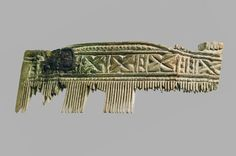 Fragment of a comb found in Ostrów Lednicki, Poland. Culture: Slavic (West Slavs - early Polish state) Timeline: c. 10th-11th century [source]