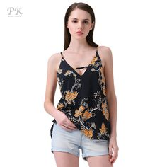 0ccddbaeb2b80 PK summer black floral tank top women gilet halter haut sexy tops park v  neck women tank top black backless strape 2017-in Camis from Women s  Clothing ...