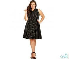 Dotted Shirt Skater Dress is available at Oasis Plus Size, plus size swing dresses manufacturers and supplier in USA.