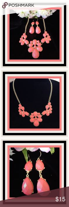 """NWOT:  CORAL NECKLACE SET   This very appealing set is sure to get compliments.  The actual color is a little lighter than the photo.  The three flowers on the pendant are not overpowering.  The set is trimmed in gold.  The earrings are a great match and complete this stylish set.  Size: 18"""" with 2"""" extension. Earrings: 3/4"""" wide x 2 1/4"""" high.  Jewelry Necklaces"""