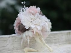 DIY How To Make A Bridal Bouquet With Feather and Fabric Flowers : DIY Wedding DIY Bouquet