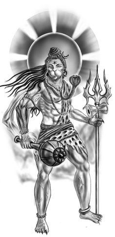 Lord Shiva with Hanumaan Face tattoo