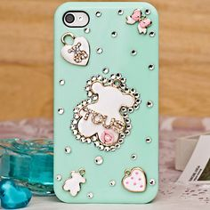 Happy Bear Crystal Hard Case for iPhone 4/4s,Three Colors Available