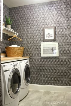 laundry room idea from Crazy Wonderful -- Walls Republic for the wallpaper and decided on Grey Geometric