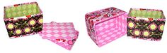 Collapsible storage bins, made with recycled cardboard and your favorite fabric.  Tutorial by Sew 4 Home.
