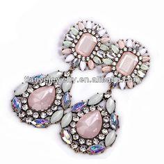 2016 New Fashion flower imitation gemstone big personalized pink drop women jewelry earrings bijoux brand jewelry Diamond Earrings, Drop Earrings, Factory Design, Chandeliers, Bracelets, Women Jewelry, Gemstone, Flower, Big