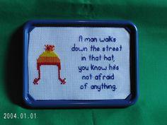 Jayne Cobb Firefly Magnet Jayne Hat Framed Magnetic Cross Stitch Sampler. $10.00, via Etsy.