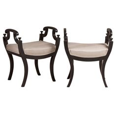A Pair of Ebonised Framed Swedish Empire Stools circa 1900   From a unique collection of antique and modern stools at http://www.1stdibs.com/furniture/seating/stools/