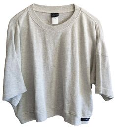 Vintage Susan Fixel Grey ribbed thermal looking crop top oversized baggy patched size large banded just a perfect shirt stretchy hipster by VELVETMETALVINTAGE on Etsy