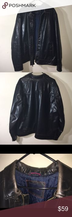 Faux leather jacket Warm faux leather jacket. Has some cracking around the collar as shown in the photo. Make me an offer OR when you bundle 3 or more items from my closet you only pay shipping ONCE, you get 15% OFF, and a FREE JEWELRY RELATED GIFT!!! Tommy Hilfiger Jackets & Coats