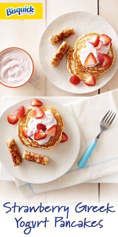 Power up your breakfast with these strawberry Greek yogurt pancakes, packed with Greek yogurt and garnished with fresh strawberries.