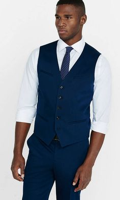 Cotton Sateen Navy Blue Vest from EXPRESS