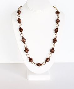 Brown Mini Puso Chain Link Necklace #zulily #zulilyfinds #katechan #ecoluxe #fashion #accessories #spring #summer #boho